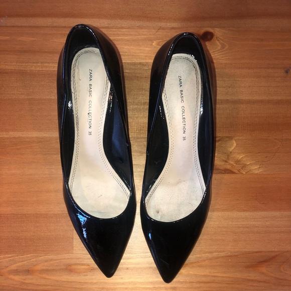 Zara Shoes - Zara pointed toe black patent pumps